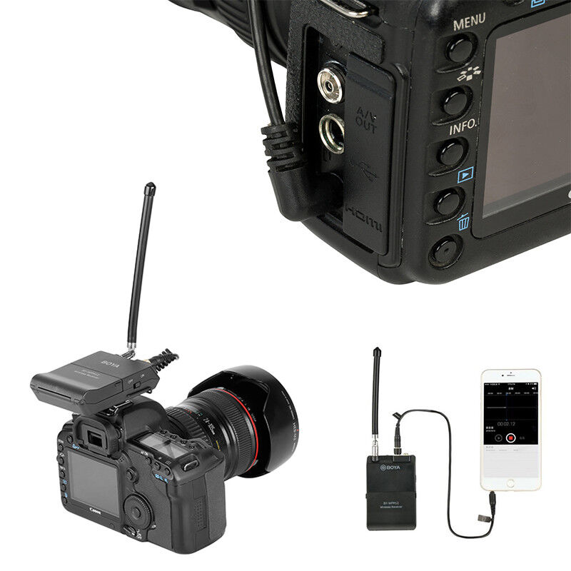 BOYA BY-WFM12 Wireless VHF Microphone System For DSLR Camera iPhone Camcorder