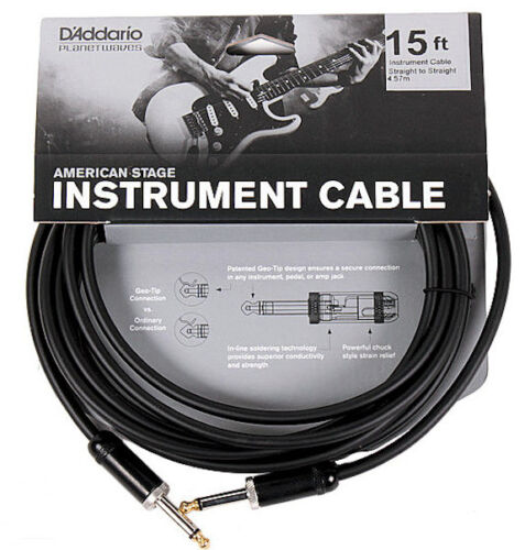 NEW PLANET WAVES PW-AMSG-15  AMERICAN STAGE 15/' INSTRUMENT CABLE FREE US SHIP
