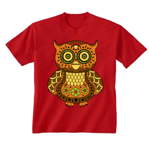 Kids Childrens Sugar Owl Decorated Colourful Tattoo Style Birds T-shirt 5-13