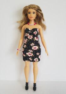 Fits CURVY BARBIE Fashionistas CLOTHES Floral Dress &Jewelry Fashion NO DOLL d4e