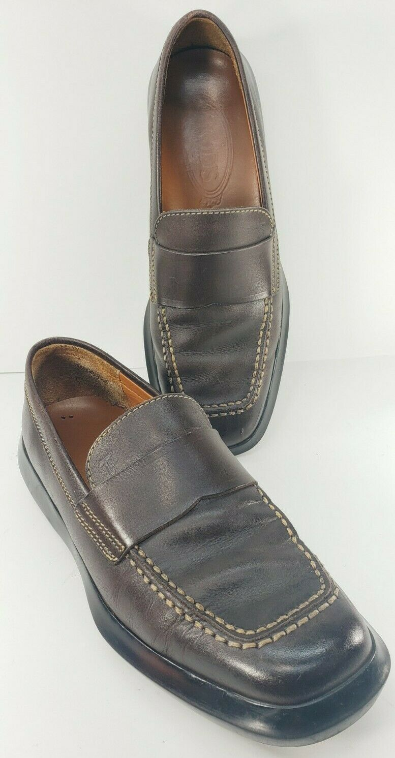 TOD'S Women's Brown Leather Driving Loafers Moc Square Toe Casual Shoes Size 7