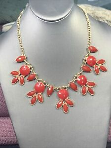 "Vintage Bright  Red Necklace Gold Bib  statement  cabochons Lucite 18"" Long"