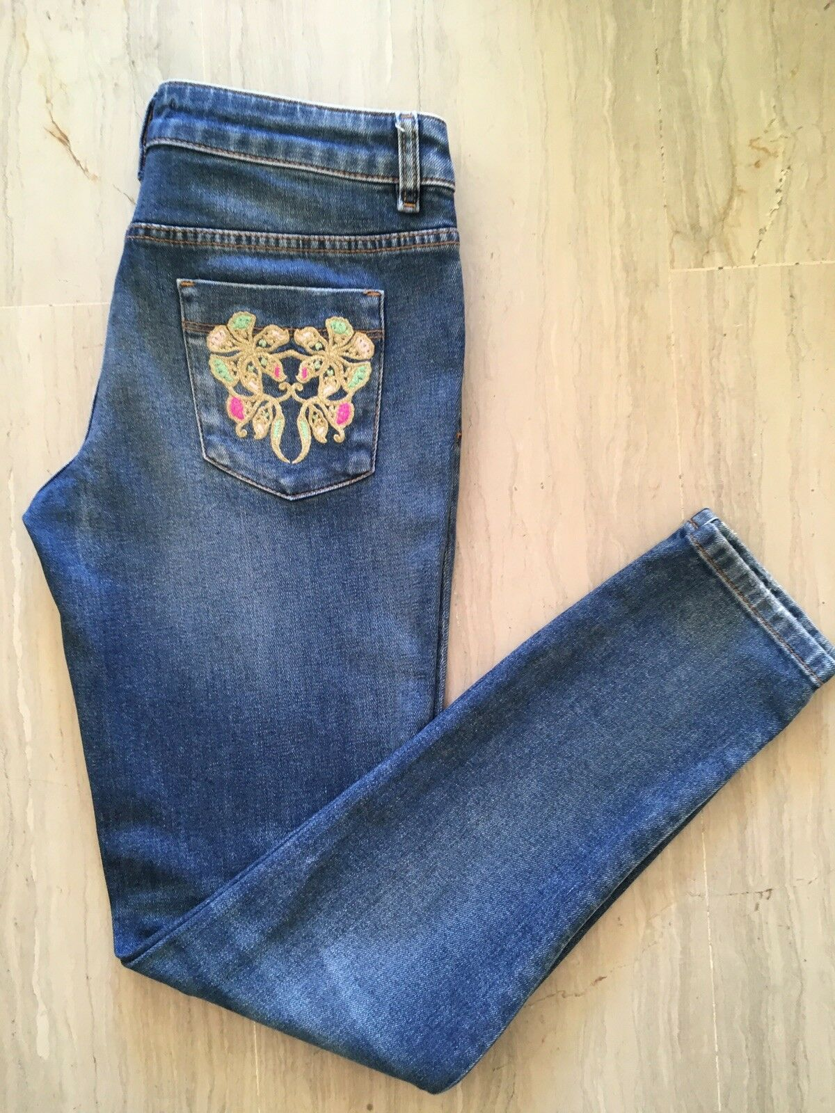 JUST CAVALLI Boyfriend bluee Jeans Distressed Floral Embroidery W29