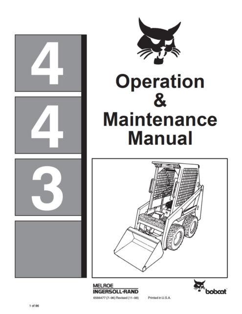 bobcat 443 skid steer loader operation maintenance manual 6566477 rh ebay com