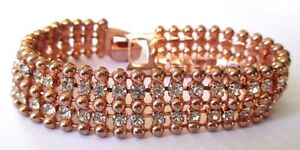 Bracelet Ancien Bijou Rétro Couleur Or Rose Cristal Diamant Maillons 2 Rangs 436