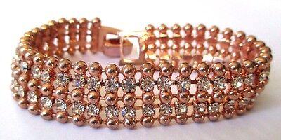 Bracelet Ancien Bijou Rétro Couleur Or Rose Cristal Diamant Maillons 2 Rangs 436 Servizio Durevole