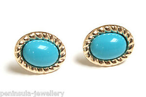 9ct-Gold-Turquoise-Rope-Edge-Studs-Earrings-Gift-Boxed-Made-in-UK