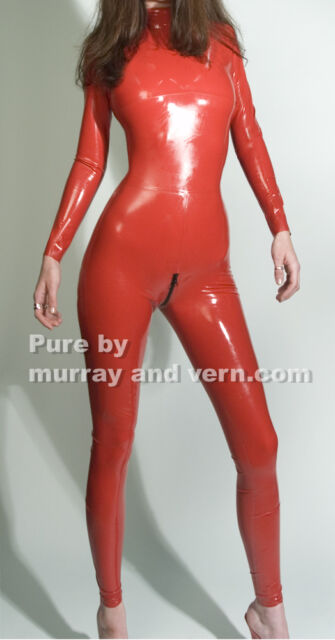 Premium Red PVC Catsuit size 10 12 14 16 S M L XL XXL black zip Vawn and Boon
