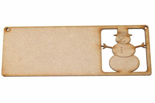 Navidad Muñeco De Nieve Cartel Placa De Madera Mdf empavesado suspensión de puerta forma de artesanía en Blanco