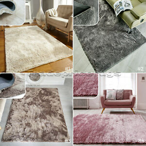 SMALL-amp-LARGE-CRUSHED-VELVET-EFFECT-MEDIUM-PILE-SILKY-SOFT-SHAGGY-RUG-PROMO-SALE