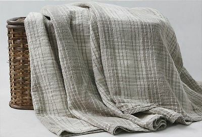 New Throw / Blanket/ Rug/ Plaid 100% pure LINEN Queen 86.6'' x 78.7'' ECO Flax