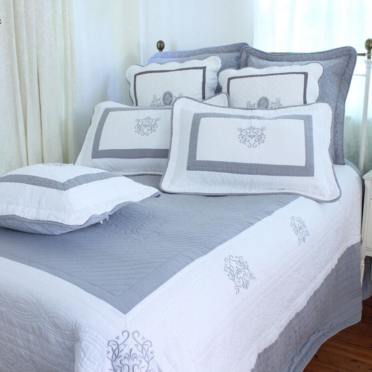 Weißhe Bedspread Set   Cotton   grau & Weiß   Embroiderot Motifs   King Queen