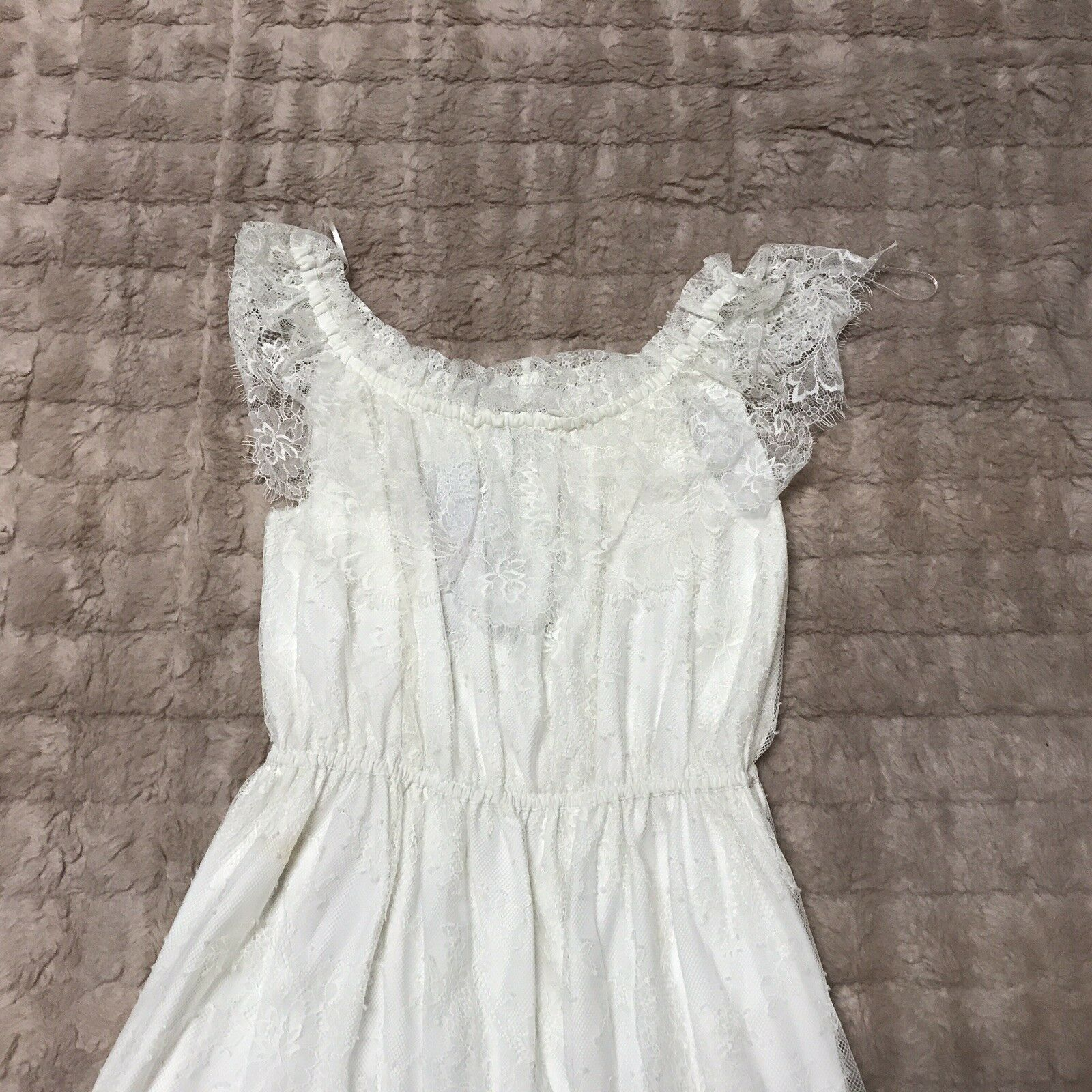 345 The Kooples White Bohemian Poetic Off Shoulder Lace Dress 58c7ed