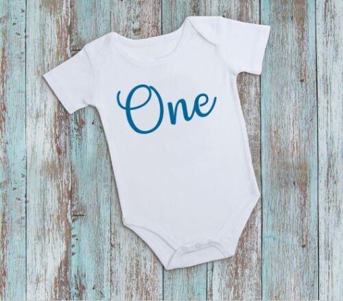 One 1st Birthday Blue Boys Baby Vest Baby Grow Babygrow Cake Smash Photo Prop