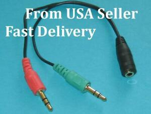 Two-X-3-5mm-Stereo-Audio-Female-2-male-Headphone-Mic-TRRS-Y-Splitter-Adapter