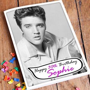 ELVIS-PRESLEY-Personalised-Birthday-Card-Rock-n-Roll-King-Grandad-Mother-Son