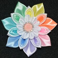 Handmade Girl's RAINBOW Flower Hair Clip/Bow, Kanzashi, School/Party, Pastel