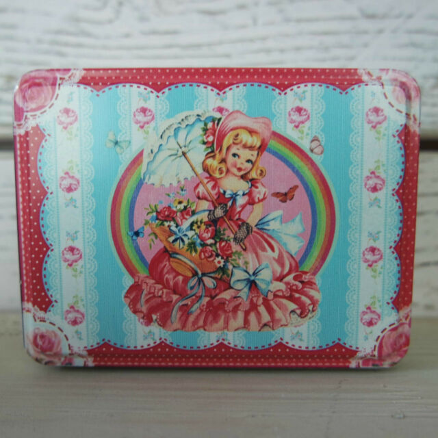 Kitsch Retro Vintage Blue White Pink Little Bo Peep Trinket Tin Storage Box