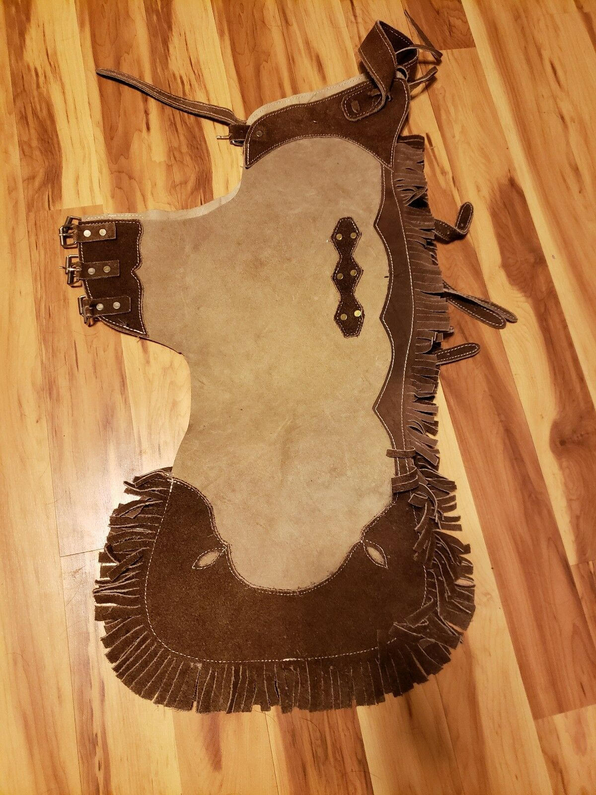 Western Fringed Brown tan Suede Leather Chaps