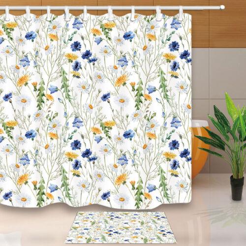 """Fleur sauvage Aquarelle conception étanche salle de bains Tissu Rideau de douche Set 71/"""""""