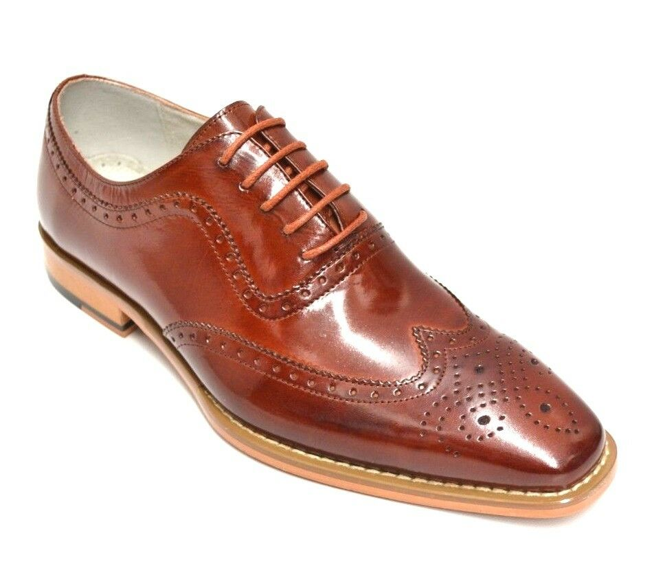 Zapatos De Vestir Para Hombre Coñac de extremo de ala cuero genuino por Giovanni Ferrara