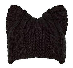 HandKnit-Womens-Girl-Cute-Cat-Ear-Meow-Kitty-90-Wool-Winter-Cap-Beanie-Hat-A004