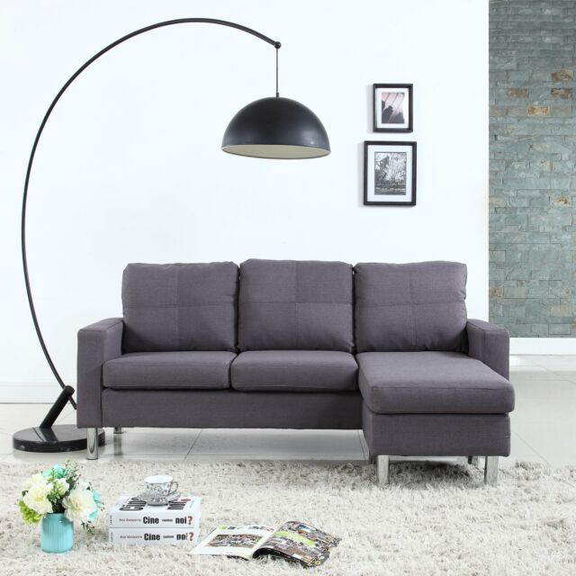 Modern Living Room Reversible Linen Fabric Sectional Sofa Small ...