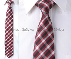 Dark-Red-White-Black-Plaid-Checker-Handmade-100-Woven-Silk-8-cm-nch-Neck-Tie