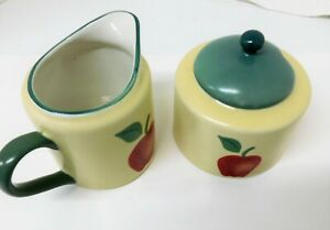 Corelle Apple Bounty Creamer Sugar With Green Lid Red Apple Discontinued Ebay