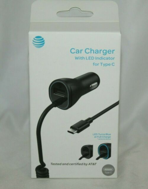 NEW Authentic OEM AT&T Car Charger with LED Indicator for USB Type C