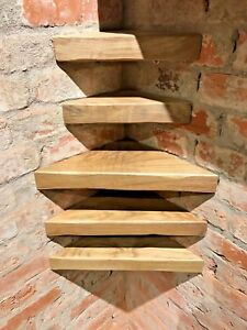 Image Is Loading Solid Oak Floating Corner Shelf Rustic Chunky Country