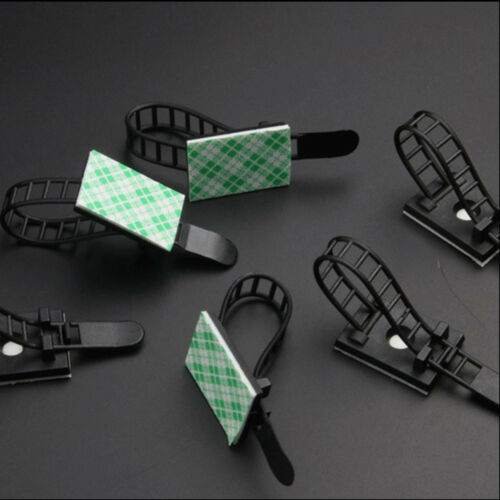 10 pcs Self-Adhesive Cable Clamps Cable Clips Straps With Optional Screw Fix