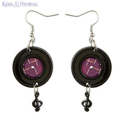 Record Drop Black and Purple Resin Earrings by Erstwilder