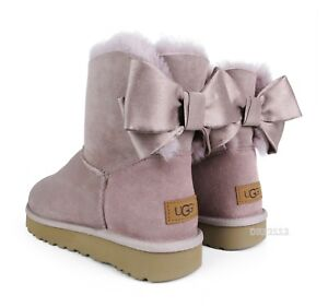 538245cfa9a Details about UGG Mini Bailey Bow II Glam Pink Dusk Suede Fur Boots Womens  Size 10 *NIB*