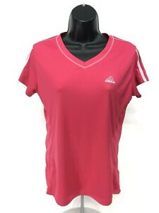 Adidas-V-Neck-Athletic-Shirt-Womens-Size-S-Small-Pink-White-Short-Sleeve