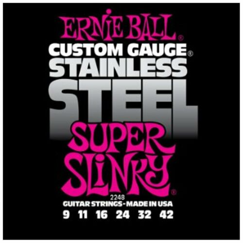 Ernie Ball 2248 Stainless Steel Super Slinky Electric Guitar Strings 9-42