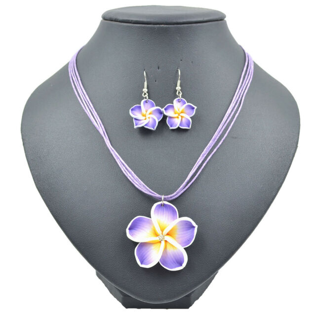 1 Set Costume Clay Fimo Frangipani Necklace Earrings Jewellery Sets 6 Colors