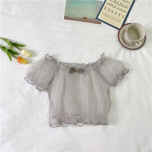 Girl Lolita T-shirt Tops Blouse Chiffon Mesh Sheer Off-shoulder Puff Sleeve Chic