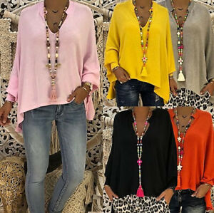 Plus Size Women Long Sleeve Blouse Cotton Linen Kaftan Baggy Tops Tunic T-Shirt