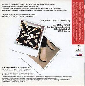 ACE-OF-BASE-034-UNSPEAKABLE-RADIO-EDIT-034-RARE-amp-EXCLUSSIVE-SPANISH-PROMO-CD-SINGLE