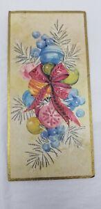 Vintage-Christmas-Card-MCM-Mid-Century-Modern-Shiny-Brite-Ornaments-Glittered