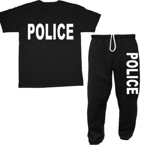Police t-shirt sweatpants set for men gift idea police decal tee sweats