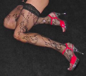 Black-Medium-Size-Ivy-Patterned-Lace-Net-Luxury-Lace-Top-Nylon-Lycra-Hold-up