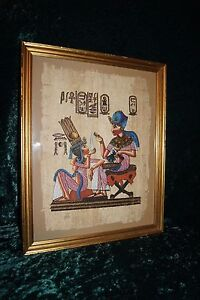 HAND PAINTED EGYPTIAN ART ON PAPYRUS SIGNED