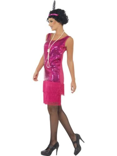 Pink Fringed Flapper Costume Charleston 20s Womens Ladies Fancy Dress Outfit