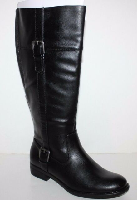 GH Bass NIB Women  Josie Black Faux Leather Riding Boots Stretch