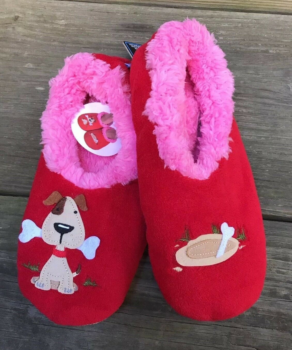 L 9-10 Snoozies Red Dog With Bone Soft Slippers Shoes Foot Coverings Women NEW