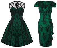 Voodoo Vixen Emerald Green Lace 50s Rockabilly Vintage Party Pencil Flare Dress