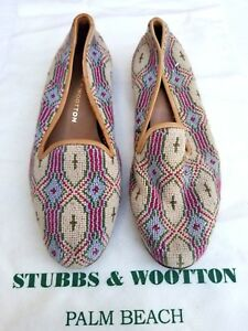 NO-BOX-BUT-NEW-Stubbs-amp-Wootton-Beige-Pink-Blue-Green-Cross-Pattern-Shoes-SZ-7-5