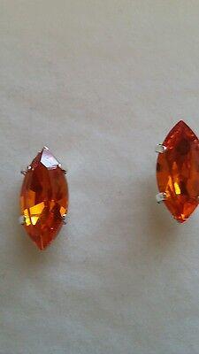 Earrings Made In Uk Sturdy Construction Tantalising Teardrop Navette Stud Earrings Using Tangerine Jewellery & Watches